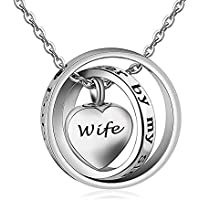 CLY Jewelry Mom Daughter Women No Longer by My Side Forever in My Heart Circle Rings Design Cremation Urn Necklace for Ashes