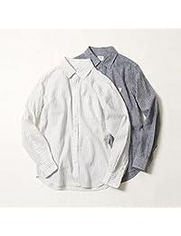 コーエン(メンズ)(coen) 綿麻ストライプレギュラーカラーシャツ