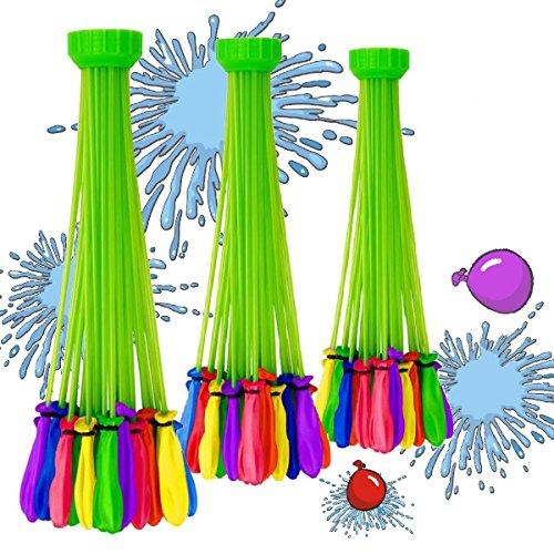 RoomClip商品情報 - 水爆弾 水風船 111個(3束X37)水を入れて投げ合う 暑い夏の水遊びに 子供のおもちゃ 60秒以内に一気に膨らませて縛る 【ハンドル部分の色ランダムです】