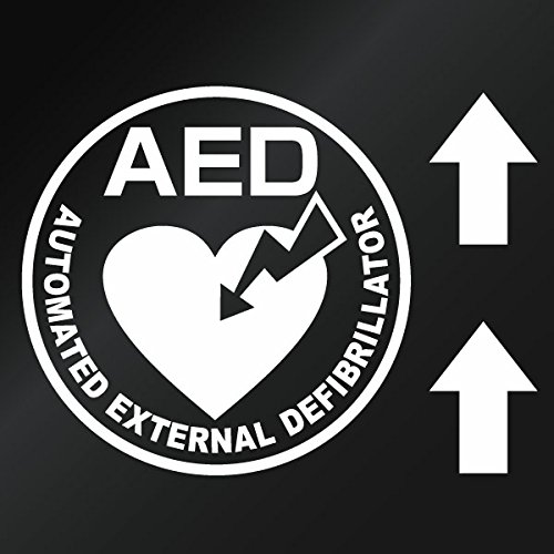 【AED設置案内カッティングステッカー ver.08 ミニサイズ 3枚組 幅約12cm×高約12cm...