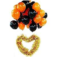 MedianField 【 ハロウィン 風船 200個 + 金モール セット 】 オレンジ ブラック 風船 100個ずつ ハロウイン 飾り 屋外 装飾 バルーン パンプキン かぼちゃ パーティー グッズ 小物 バルーン (風船 フルセット)