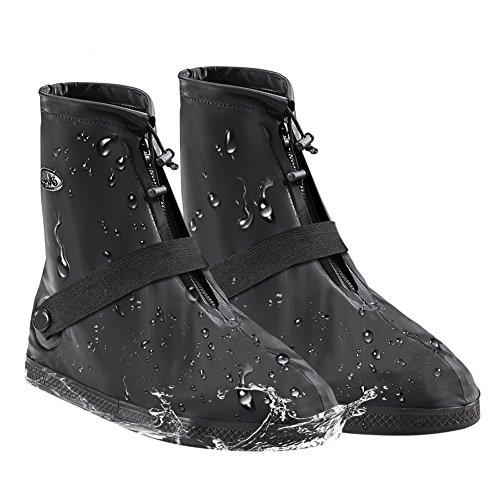 [BOUTIQUE ERA] シューズカバー雪 雨 水 泥避け 梅雨対策 防水滑り止め 耐摩耗 軽量 携帯可 通勤 通学 自転車用 S M L XL XXL XXXL男女兼用 靴の保護 靴カバー 履きやすい(ブラック L)