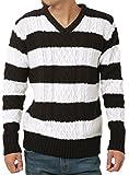 JIGGYS SHOP (ジギーズショップ) ニット セーター メンズ Vネック ケーブル編み 厚手 長袖 防寒 ボーダー アメカジ L B ホワイト×ブラック