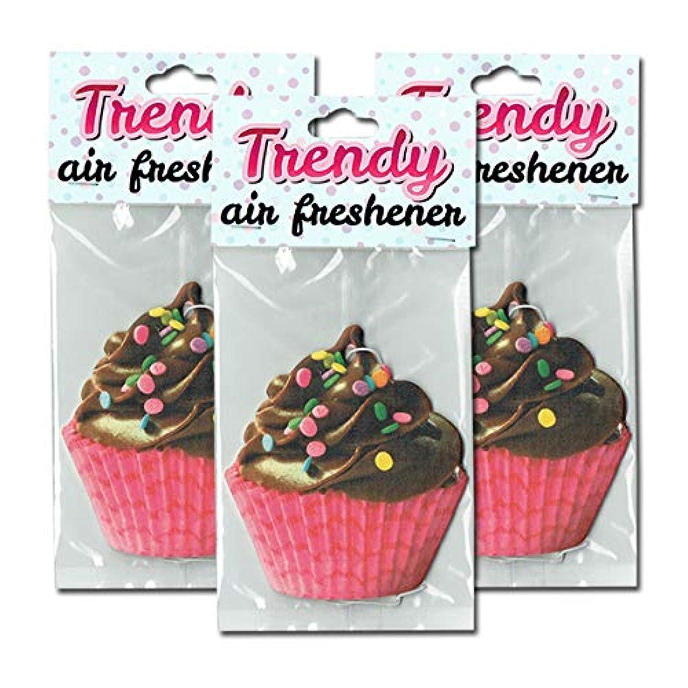 解説図書館マリンカップケーキ エアフレッシュナー 3枚セット【Chocolate Cup Cake Air Freshener】芳香剤 [並行輸入品]
