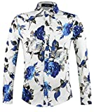 APTRO(アプトロ)花柄シャツ 長袖 アロハシャツ メンズ シャツ ワイシャツ 長袖 春シャツ 秋シャツ フロラル コットン スリム 兄貴系 上質仕様 大きい花柄 チョイワル系 アメカジ #902 Xl