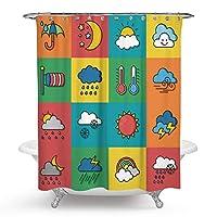 天気シャワーカーテン天気と月のアイコンセットシャワーカーテンセットバスルーム用装飾子供用教育マルチ70x70Inc 165X180 CM