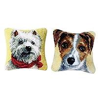 FLAMEER DIY ラッチフックキット 枕カバー ソファクッションカバー 動物 犬 43x43cm かわいい 2セット