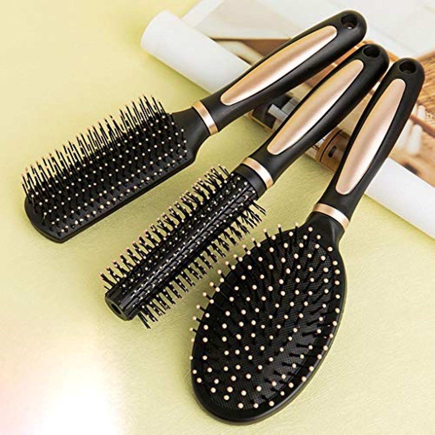 真実にのどペデスタル男性と女性エアバッグマッサージくし、ヘアくしセットロングヘアの旅と家庭のための抗静的なカール形状 (Size : Hair comb 3 piece set)