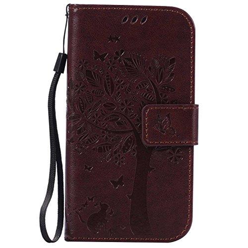Galaxy S4 ケース CUSKING 手帳型ケース 高品質 PUレザー カードポケット全面保護 フリップ カバー 落下防止 衝撃吸収 財布型 ギャラクシ S4 対応 - ブラウン
