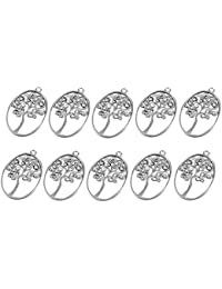 【ノーブランド 品】楕円形 中空の木 ペンダント アンティークシルバー ジュエリーのDIY 20個