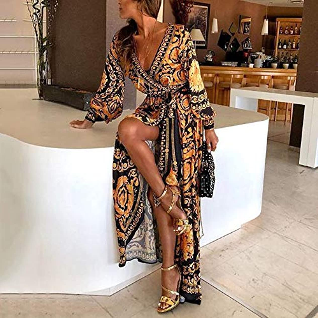 Onderroa - ファッションエレガントな女性のセクシーなボートネックグリッターディープVネックドレスパーティーフォーマルロングドレスを印刷