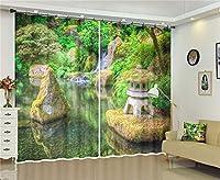 デジタルプリント3Dウィンドウカーテン、ポリエステルファブリック省エネ断熱&ノイズ遮光カーテン、マルチカラー,B,W300*H270cm