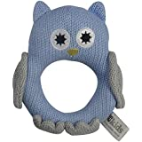 ES Kids Knitted Owl Ring Rattle, Blue