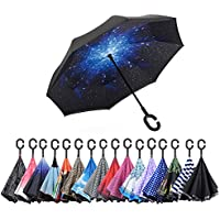 AWEOODS Inverted Umbrella Windproof Reverse Folding Double Layer Travel Umbrella with C Shape Handle, Starry Sky