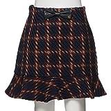 【ニコ☆プチ掲載】チェック柄裾フレア切り替えスカート 紺 L(160)