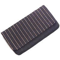 【男性用】【手織り麻】縞懐紙入れ(懐紙つき) 黒