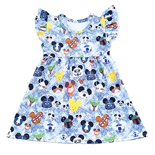 LZJLSQHYH Summer Mickey Head Pattern Pearl Dress Summer Clothing Baby Kids Boutique Grey Dresses - Grey - 6T