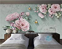 Weaeo 壁紙ヨーロッパのレトロローズバタフライテレビの背景居間のベッドルームの壁壁の壁画の壁紙の3D-280X200Cm