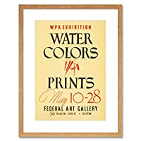 Advert Exhibition Water Colors Boston Gallery USA Framed Wall Art Print 広告展示会水アメリカ合衆国壁