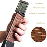 Volwco Pocket Guitar Chord Trainer, Portable Guitar Practice Tool for Beginner, Mini 6 Fret Guitar Finger Memory Exerciser with Rotatable Chords Chart Screen and Pitch Adjustment Wrench and Cloth Bag