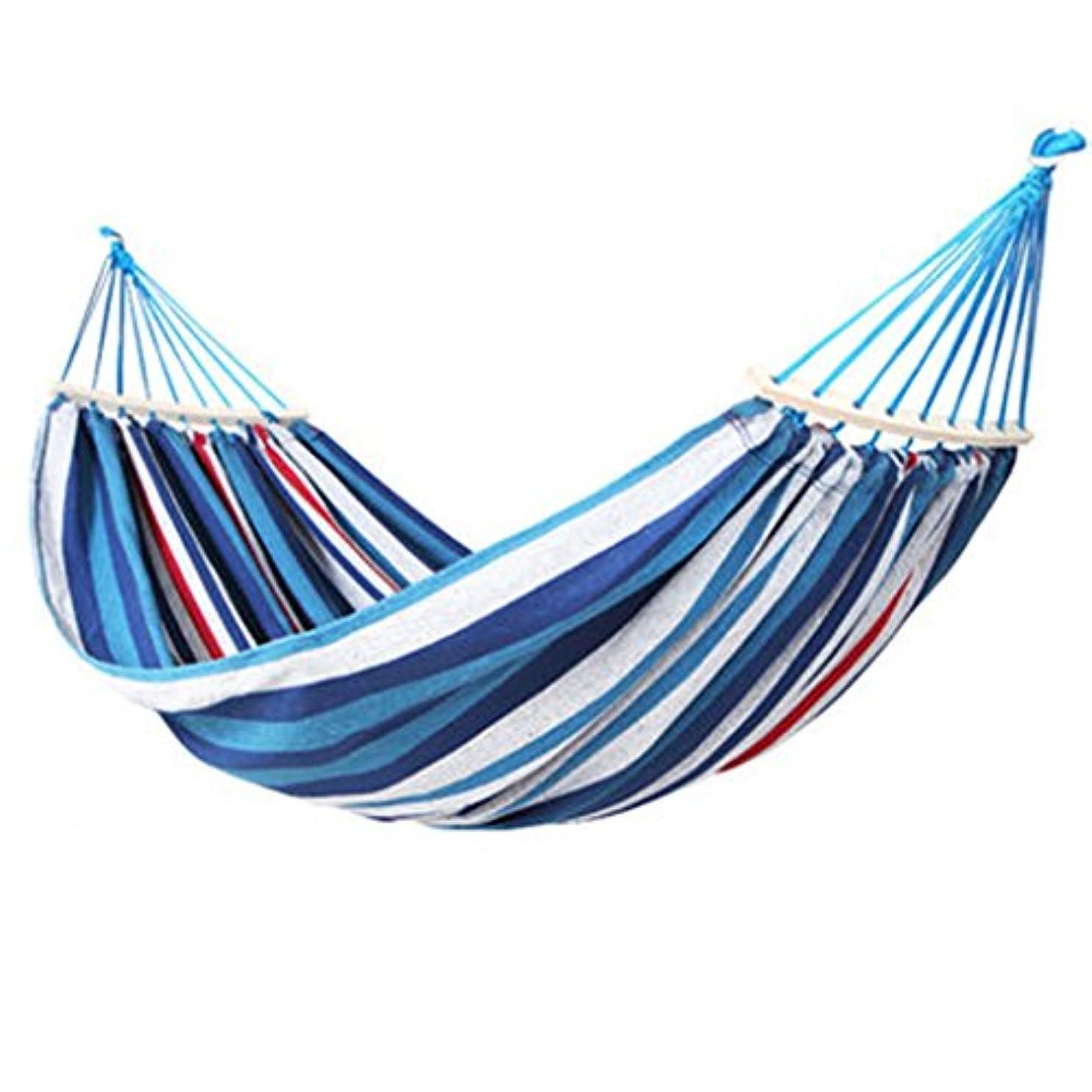 する強風振り向くハンモック キャンバス屋??外ハンモックキャンプ予防ロールオーバー木製のスイングチェアダブル200 * 150センチメートル (Color : Blue)