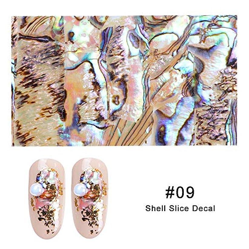 夜の動物園凝縮するカジュアルArtlalic 1シートシェルアワビネイルアートシールグラデーションマーメイドフレークネイル箔シーサイドデザインステッカーデカール15色