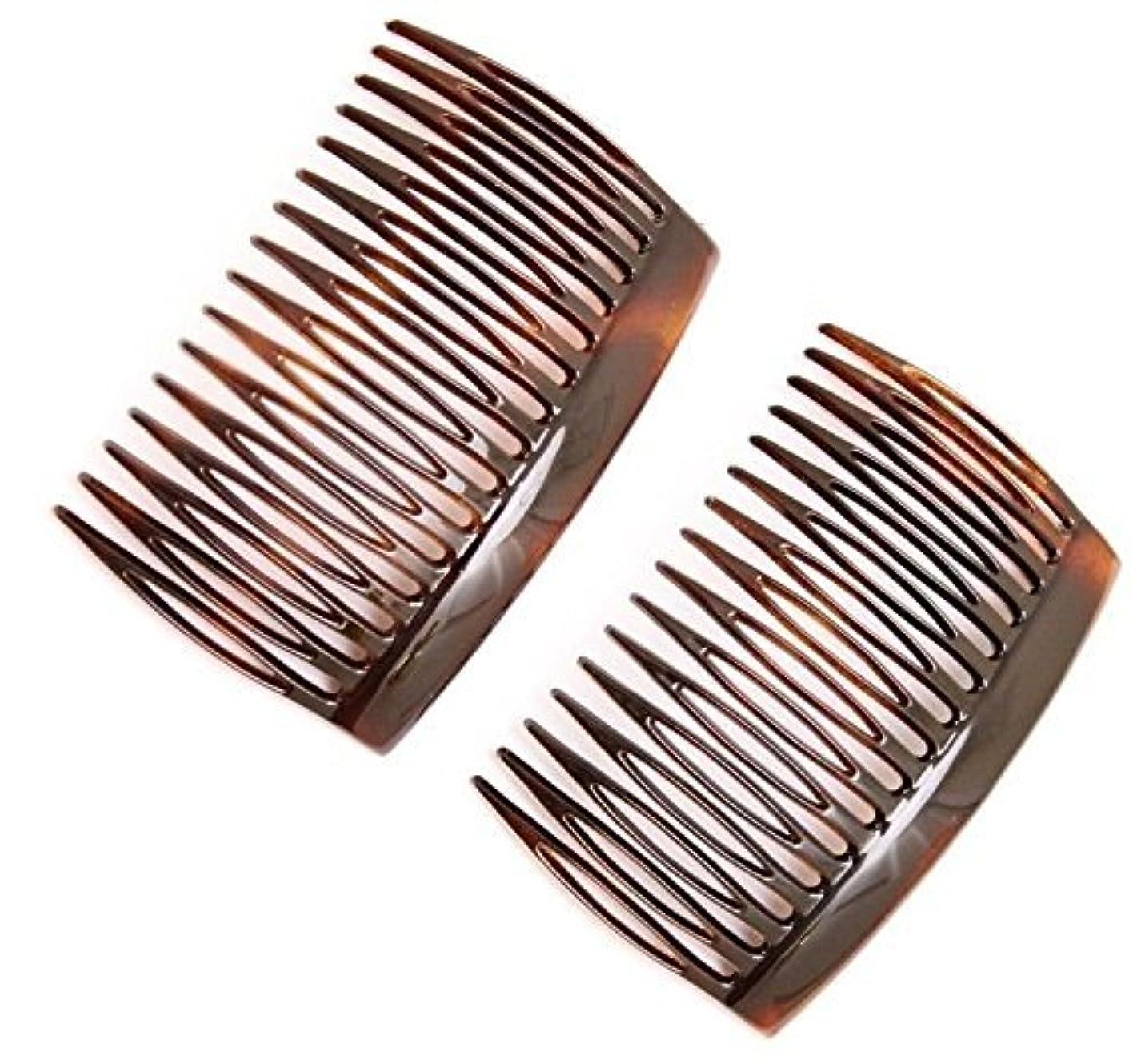 エンコミウム一時解雇する涙Parcelona French 2 Pieces Glossy Celluloid Shell Good Grip Updo 16 Teeth Hair Side Combs -2.75 Inches (2 Pcs)...