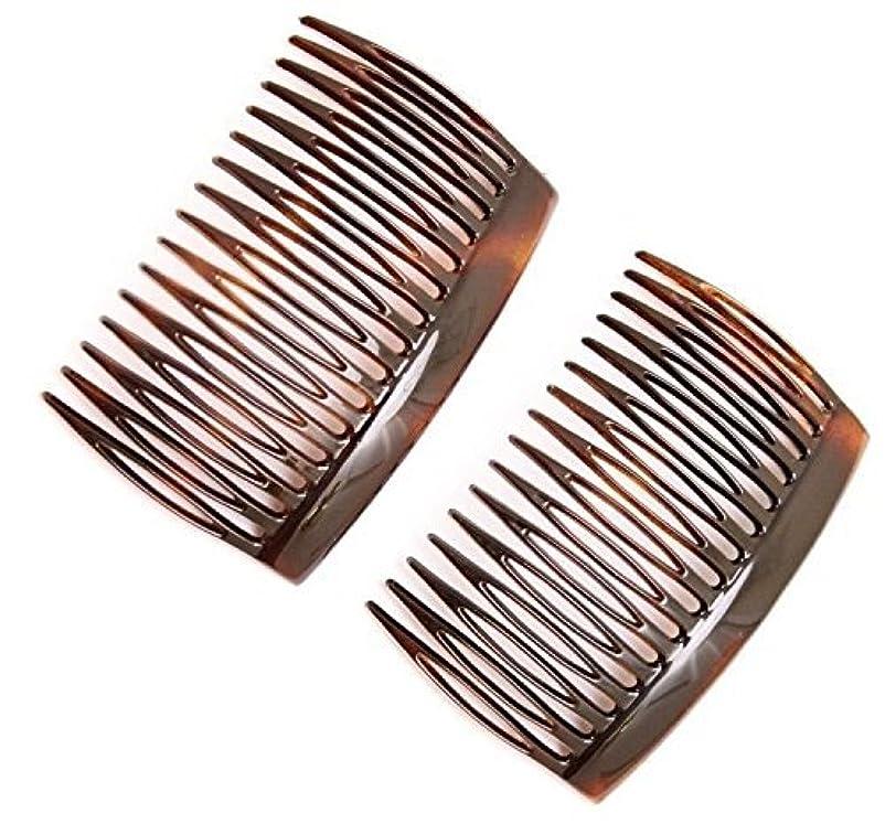 ピクニックをするトピック無効にするParcelona French 2 Pieces Glossy Celluloid Shell Good Grip Updo 16 Teeth Hair Side Combs -2.75 Inches (2 Pcs)...