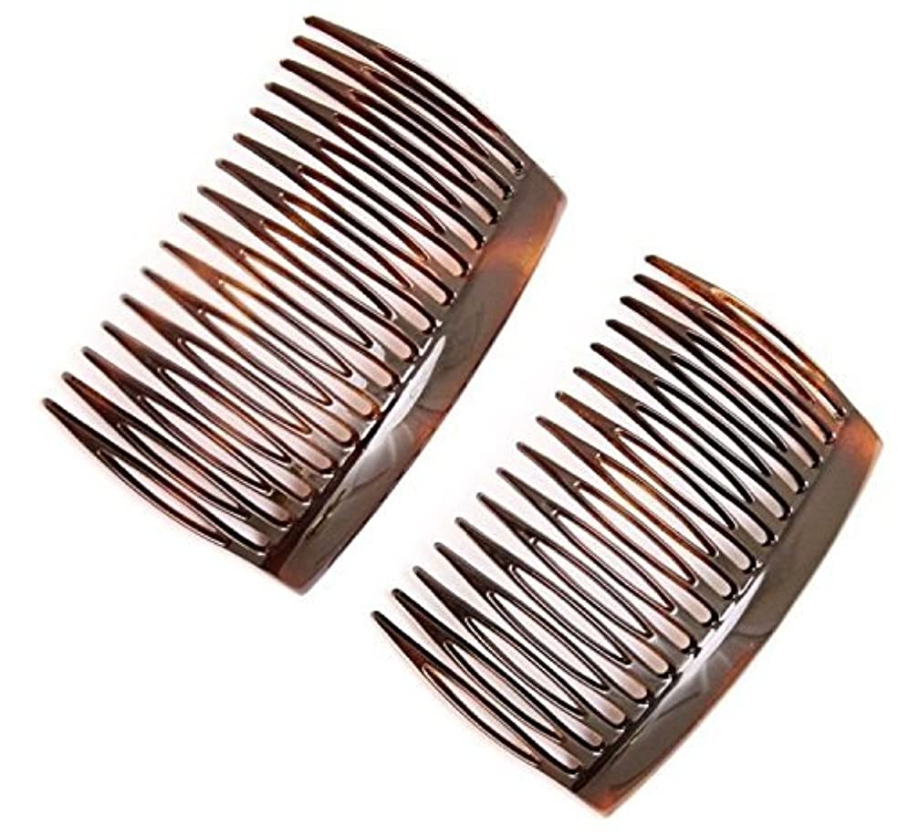 Parcelona French 2 Pieces Glossy Celluloid Shell Good Grip Updo 16 Teeth Hair Side Combs -2.75 Inches (2 Pcs)...