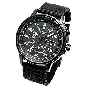 [LAD WEATHER]メンズ腕時計 ソーラー電波時計 100m防水 ミリタリー時計 ブラック lad017