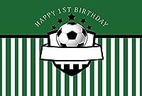 Yeele 10x 6.5ft Boy 1st Birthday Backdrop Footballスポーツグリーンストライプ写真背景写真パーティー用バナー装飾赤ちゃん女の子新生児プリンセスポートレート写真ブースShooting Studio小道具