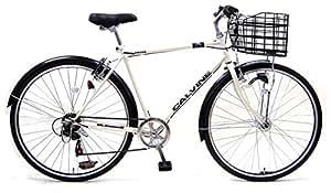 カルバイン (CALVINE) ホワイト 27インチ 7段変速 LEDオートライト クロスバイク スポーツ用自転車 ビジネスクロスバイク