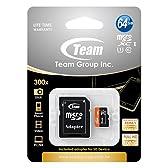 Team micro SDXCカード UHS-1 64GB SDアダプタ付 10年保証 TUSDX64GUHS03