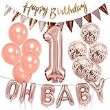 誕生日飾り付け 1歳 ローズゴールド OH BABY 数字1 紙吹雪入れ ラテックスバルーン 三角 happy birthdayバナー シャンパンカラー 女の子 100日 誕生日 ベビーシャワー飾り 部屋装飾