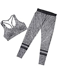 Kankanluck Women Sports Yoga Sports Stripes Printed Summer Tanks Sweatshirt pants Set
