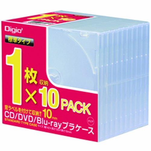 ナカバヤシ Digio2 CD/DVD/Blu-ray プラケース スタンダードタイプ 1枚収納×10パック CD-085-10