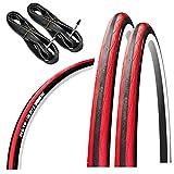 GORIX(ゴリックス) 自転車用タイヤ クロスバイク ロードバイク 他対応 [クリンチャー自転車タイヤ 2本 + チューブ 2個セット タイヤ交換] Gtoair (レッド, 23c)