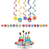 Creative Converting Art Party Decorations Bundle: Centrepiece, Ribbon Banner, and Dizzy Danglers