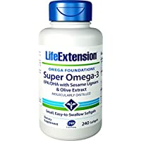 海外直送品Life Extension Super Omega-3 EPA DHA with Sesame Lignans & Olive Fruit, 240 Softgels