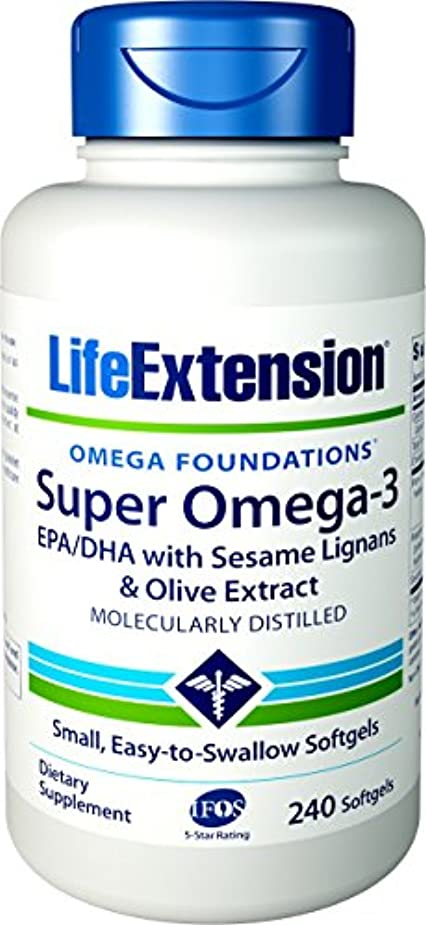 明らかにするお客様クアッガ海外直送品Life Extension Super Omega-3 EPA DHA with Sesame Lignans & Olive Fruit, 240 Softgels