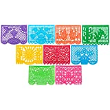 Paper Full of Wishes Large Plastic Papel Picado Banner - Party Packs - 15ft Long / 9 Panels - Designs as Pictured (5pk)