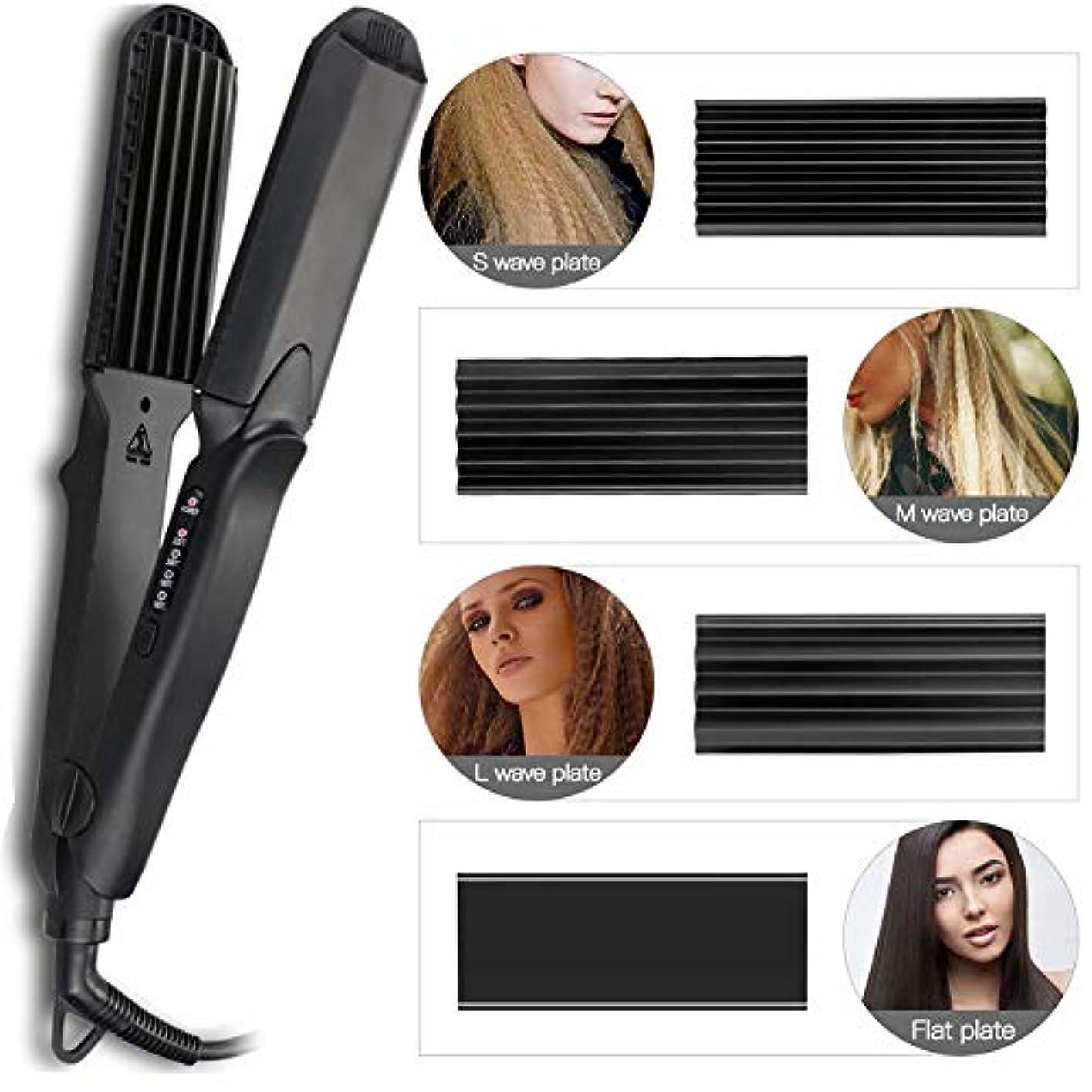 テレビを見る内向き決めますストレートヘアアイロン - セラミックストレートヘアアイロンフォーインワン交換プレートストレートヘアストレートニングデュアルユースデュアル電圧温度調節可能