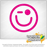 ウィンク笑顔 Winking smiley face 11cm x 11cm 15色 - ネオン+クロム! ステッカービニールオートバイ