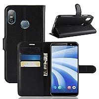 HTC U12 Life 表面 財布 Happon 保護 皮膚 二重層 緩衝器 ケース 耐衝撃性 インパック 弁護者 保護 シェル 表面 の HTC U12 Life, Black