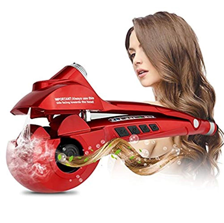 強調するクロスエミュレーション女性自動スチームヘアカーラーセラミック回転波状ヘアスタイリングスチーマースプレースパイラルワンドとLCDディスプレイ