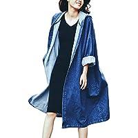 (ノーブランド品) デニムコート レディース ロング丈 ロング ロングコート コート 大きいサイズ アウター デニム フード フード付き カジュアル