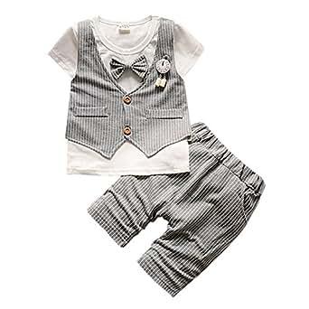 Cutelove 子供服 ベスト Tシャツ Tシャツ&パンツ 上下セット ショートパンツ ネクタイ付き 半袖 男の子 赤ちゃん 可愛い 夏 3色: 服&ファッション小物