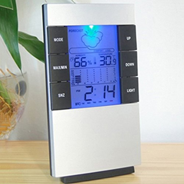 Ledバックライト目覚まし時計デジタル時計カレンダー温度計湿度計時計大型デジタルクロック家の装飾