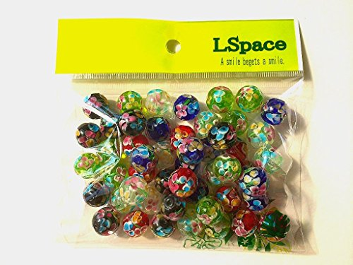 LSpace とんぼ玉 アクセサリー用 パーツ ガラス細工 ラス工芸 5色 50個 5色 14mm