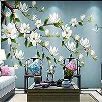 Xueshao カスタム3D壁紙ヨーロッパスタイルのレトロな手描きの花咲く豊かな花の背景装飾的な壁の壁画壁紙-150X120Cm